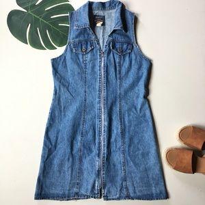 Vintage Route 66 denim jean jumper zip front dress